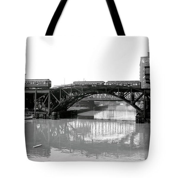 Tote Bag featuring the photograph Trains Cross Jack Knife Bridge - Chicago C. 1907 by Daniel Hagerman