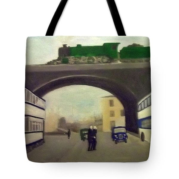 1950s Tram, Locomotive, Bus And Cars In Sheffield  Tote Bag