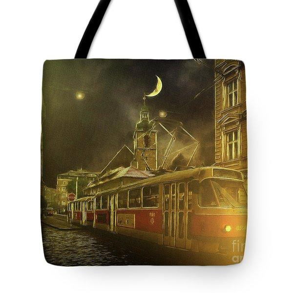 Tramatic - Prague Street Scene Tote Bag