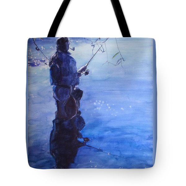 Watercolor Tranquil Fishing Tote Bag