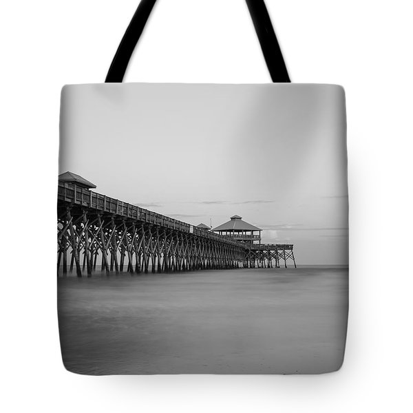 Tranquility At Folly Grayscale Tote Bag