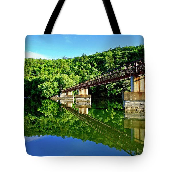Tranquility At The James River Footbridge Tote Bag