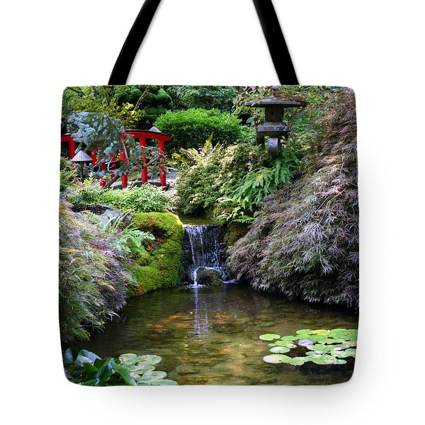 Tote Bag featuring the photograph Tranquility In A Japanese Garden by Laurel Talabere