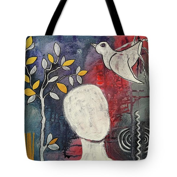 Tote Bag featuring the mixed media Tranquility by Mimulux patricia no No