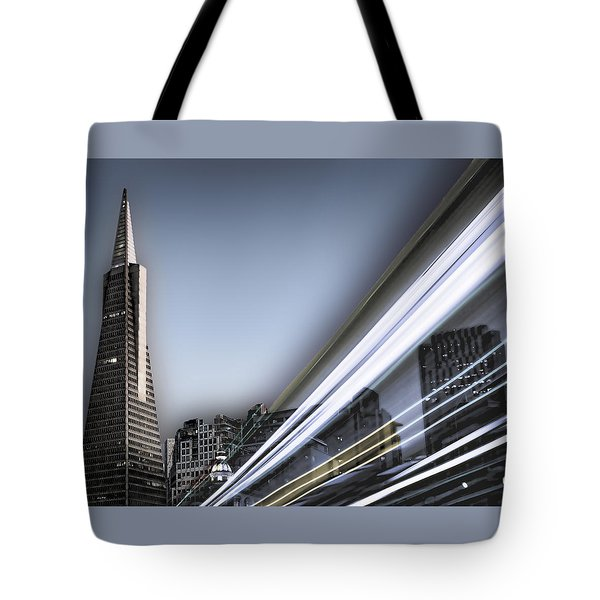 Tote Bag featuring the photograph Transamerica Flash by Steve Siri