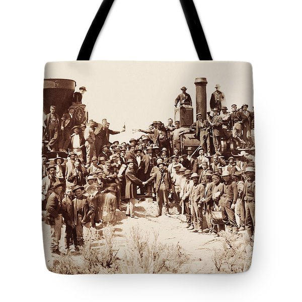 Transcontinental Railroad - Golden Spike Ceremony Tote Bag
