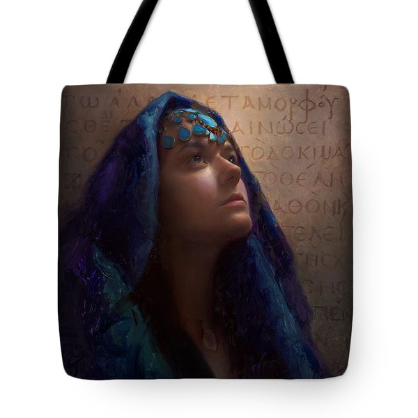 Tote Bag featuring the painting Transformation - Woman With Romans 12 2 Written In Original Greek  by Karen Whitworth