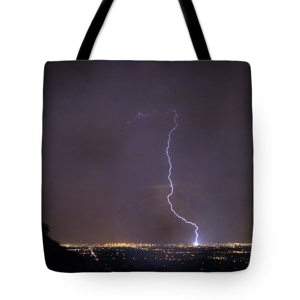 Tote Bag featuring the photograph It's A Hit Transformer Lightning Strike by James BO Insogna