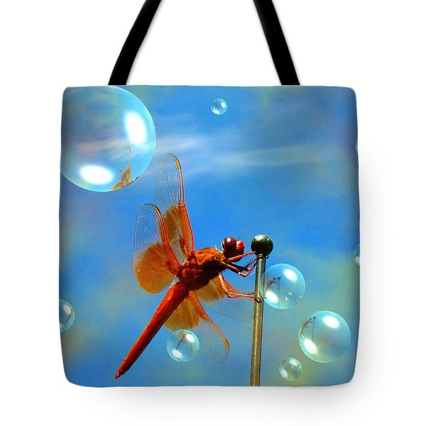 Transparent Red Dragonfly Tote Bag by Joyce Dickens