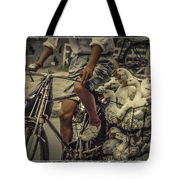 Tote Bag featuring the photograph Transport By Bicycle In China by Heiko Koehrer-Wagner