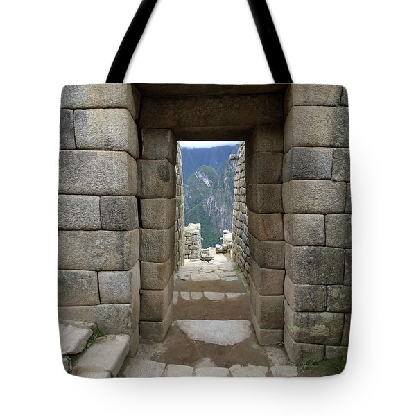 Tote Bag featuring the photograph Trapezoidal Door, Machu Picchu, Peru by Aidan Moran