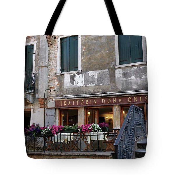 Trattoria Dona Onesta In Venice, Italy Tote Bag