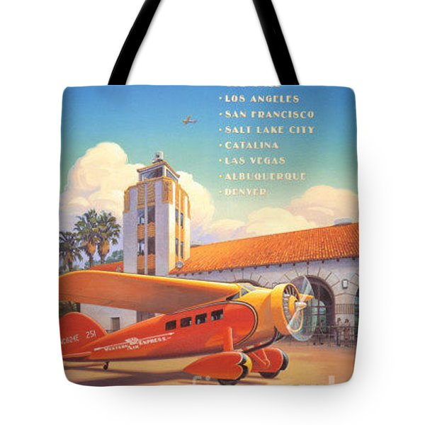 Travel By Air Tote Bag by Nostalgic Prints