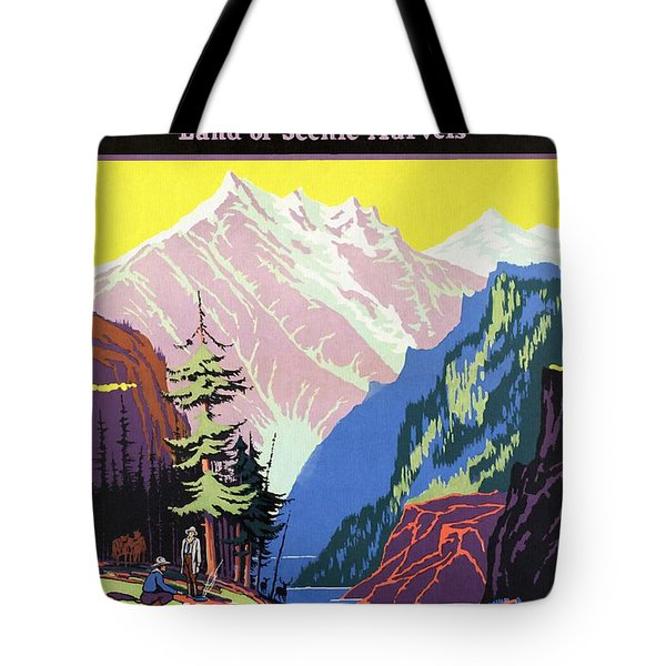 Travel By Train To Colorado Rockies - Vintage Poster Restored Tote Bag