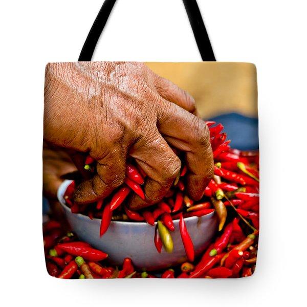 Woman Holding Red Chillies, Can Cau Market, Sapa,vietnam Tote Bag