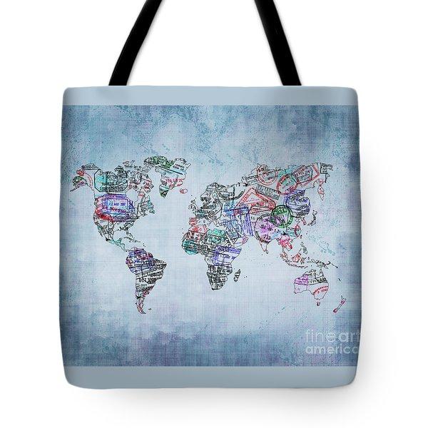 Traveler World Map Blue 8x10 Tote Bag
