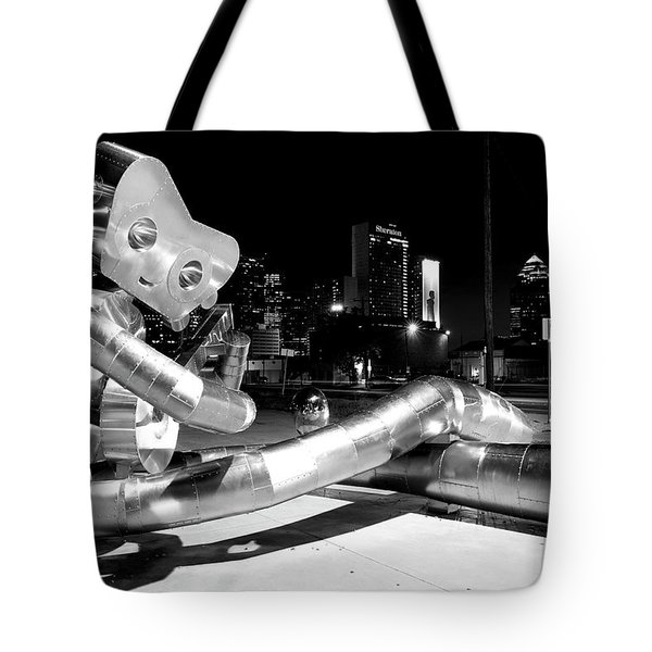 Waiting On The Train 8916 Bw Tote Bag