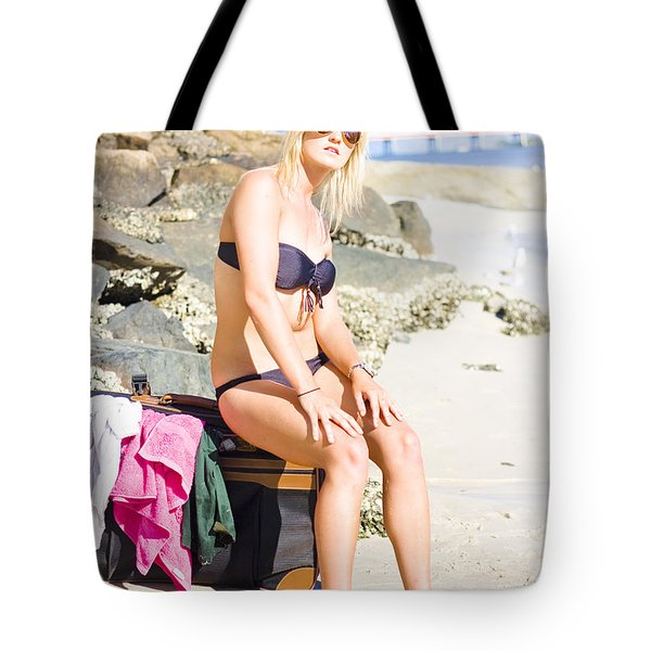 Tote Bag featuring the photograph Traveling Tourist With Suitcase On Beach Vacation by Jorgo Photography - Wall Art Gallery