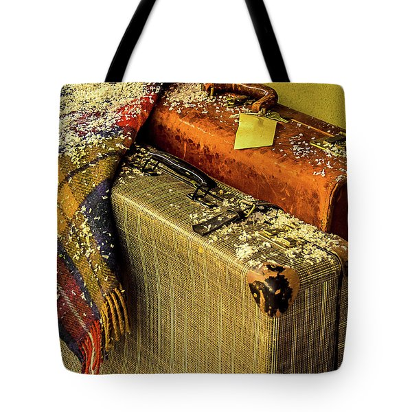 Tote Bag featuring the photograph Traveling Vintage Bags Blanket And Snow by Julie Palencia