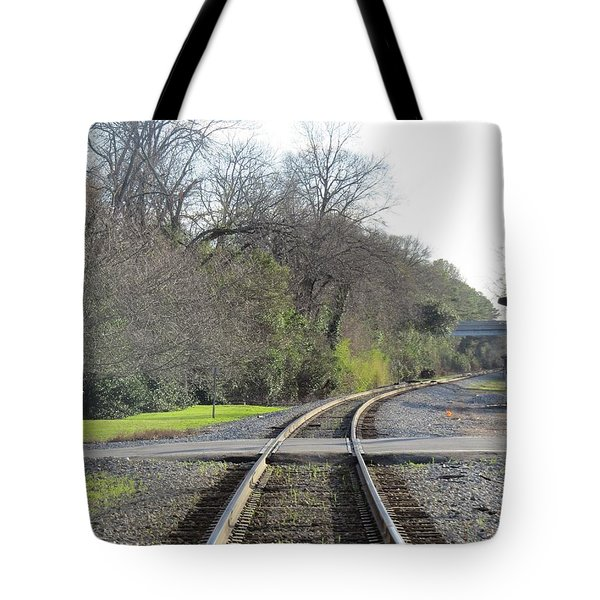 Tote Bag featuring the photograph Trax Bend by Aaron Martens