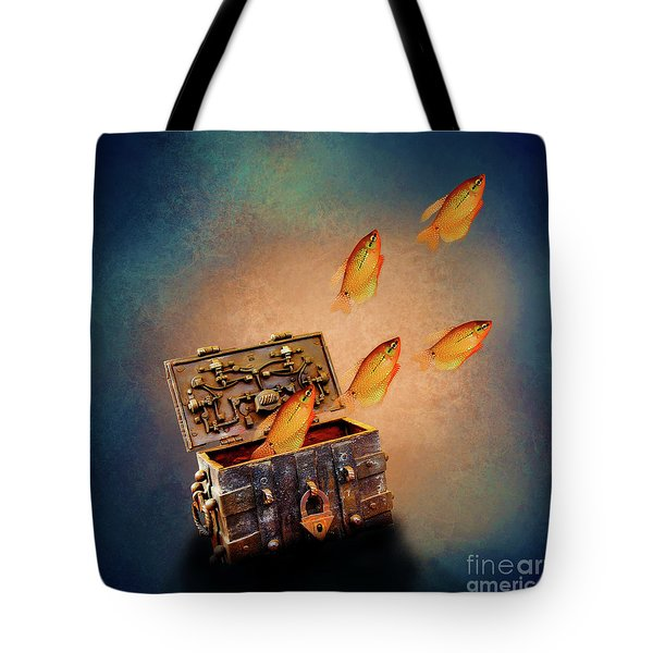 Treasure Chest Tote Bag by KaFra Art