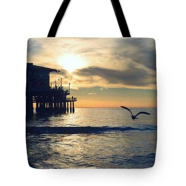 Seagull Pier Sunrise Seascape C1 Tote Bag