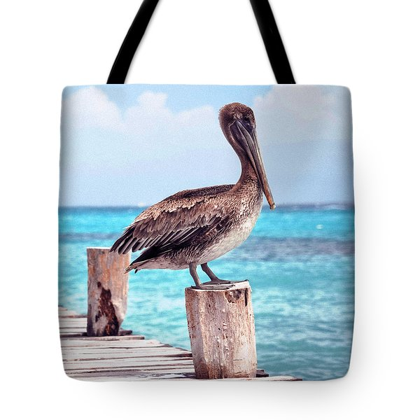 Treasure Coast Pelican Pier Seascape C1 Tote Bag
