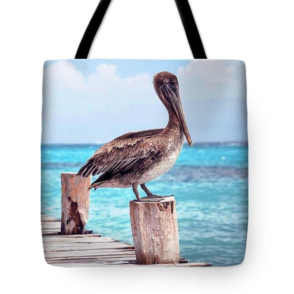 Treasure Coast Pelican Pier Seascape C1 Tote Bag by Ricardos Creations