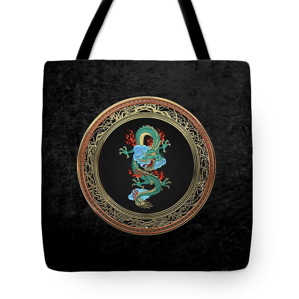 Treasure Trove - Turquoise Dragon Over Black Velvet Tote Bag by Serge Averbukh