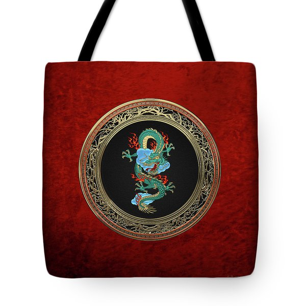Treasure Trove - Turquoise Dragon Over Red Velvet Tote Bag by Serge Averbukh