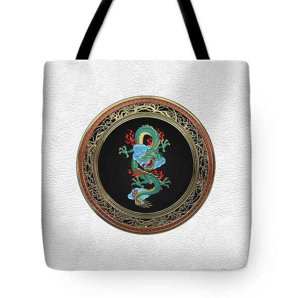 Treasure Trove - Turquoise Dragon Over White Leather Tote Bag by Serge Averbukh