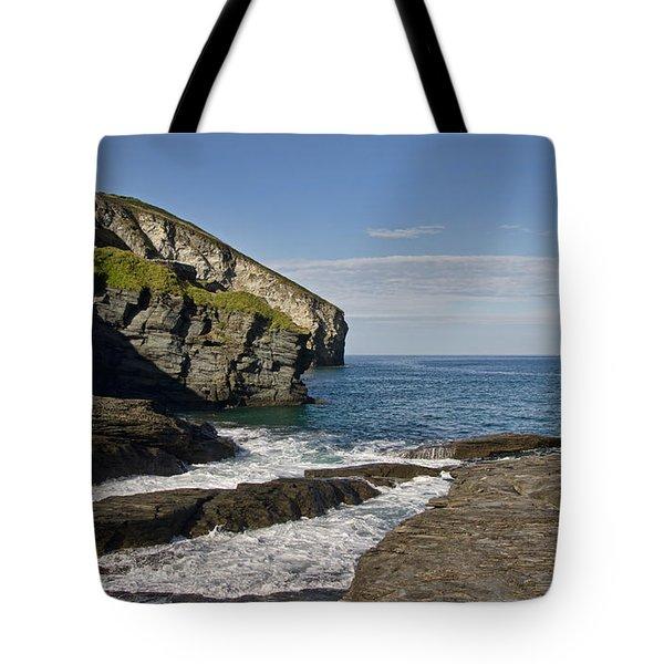 Trebarwith Strand In North East Cornwall Tote Bag