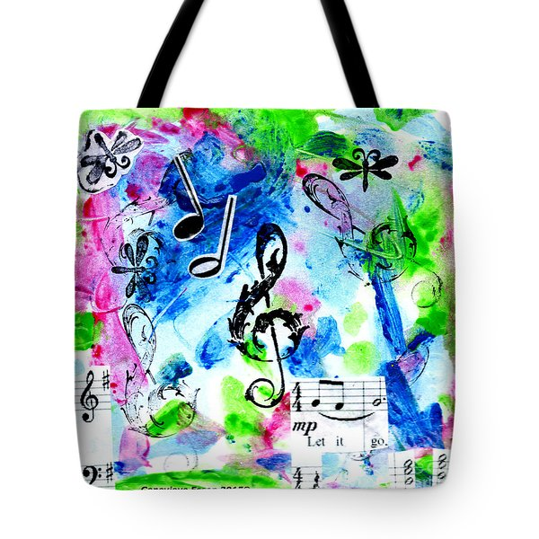 Tote Bag featuring the mixed media Treble Mp by Genevieve Esson