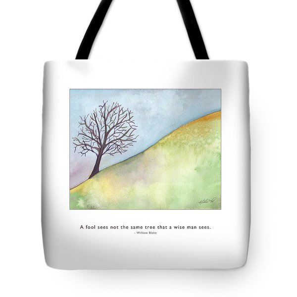 Tote Bag featuring the painting Tree A Wise Man Sees by Kristen Fox