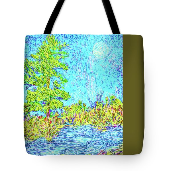 Tote Bag featuring the digital art Tree Aglow In Moonlight - Mountain Scene In Boulder County Colorado by Joel Bruce Wallach