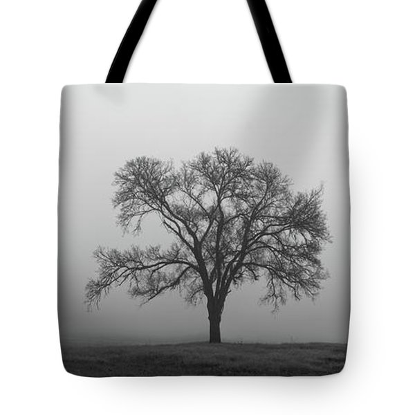 Tree Alone In The Fog Tote Bag