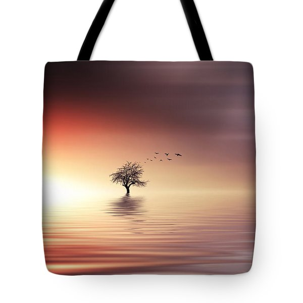 Tree And Birds On Lake Sunset Tote Bag