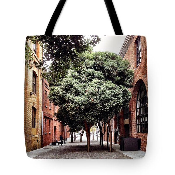 Tree And Brick Tote Bag by Julie Gebhardt