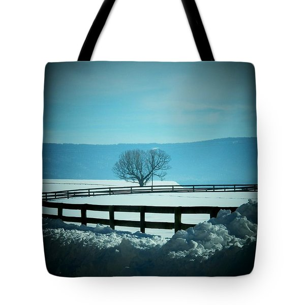 Tree And Fence In Snow Tote Bag by Joyce Kimble Smith