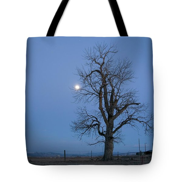 Tote Bag featuring the photograph Tree And Moon by Dutch Bieber