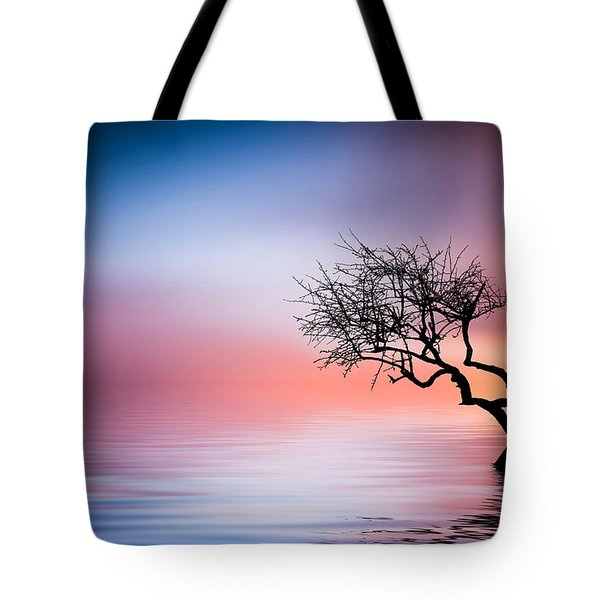 Tree At Lake Tote Bag