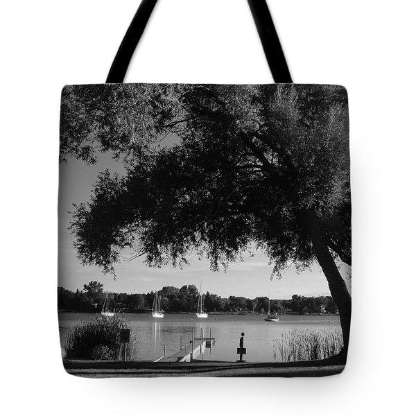 Tree At The Water Tote Bag