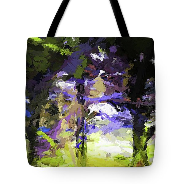Tree Avenue Lavender Lilac Green Tote Bag