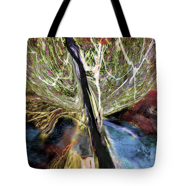 Tree Bent By Wind Tote Bag