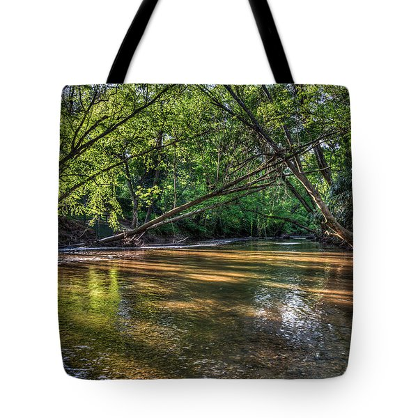 Tree Canopy Over River Tote Bag
