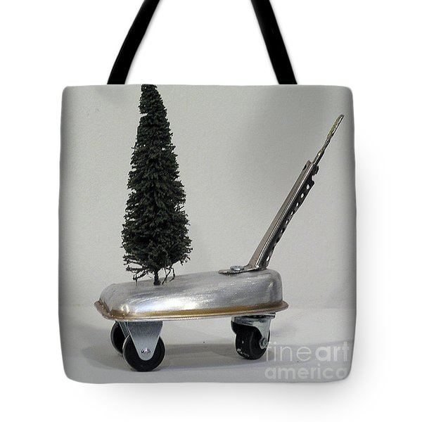 Tote Bag featuring the sculpture Tree Cart by Bill Thomson