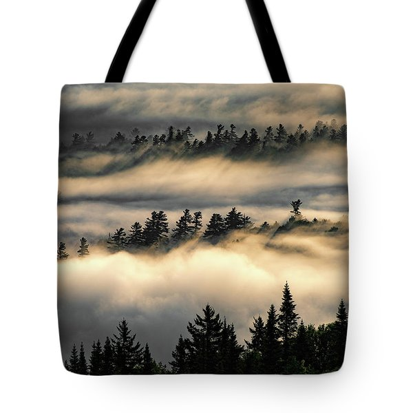 Tote Bag featuring the photograph Trees In The Clouds by Brad Wenskoski