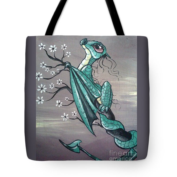 Tote Bag featuring the painting Tree Dragon II by Mary Hoy