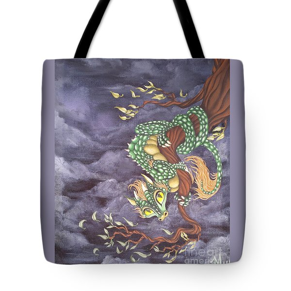 Tote Bag featuring the painting Tree Dragon by Mary Hoy