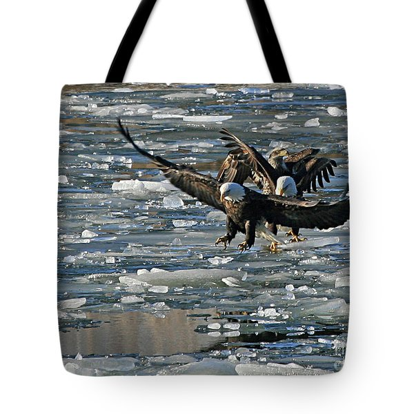 Tree Eagles On Ice Tote Bag